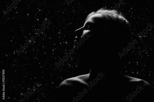 female profile on black - fototapety na wymiar