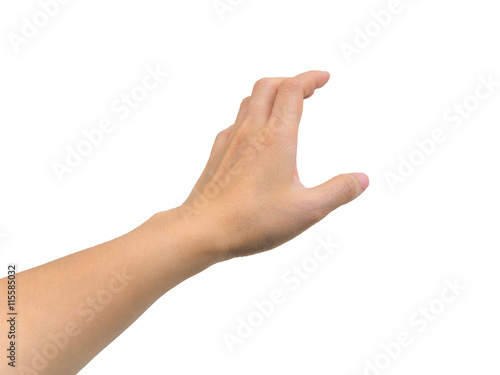 Fototapeta Human hand in picking gesture isolate on white background with clipping path obraz