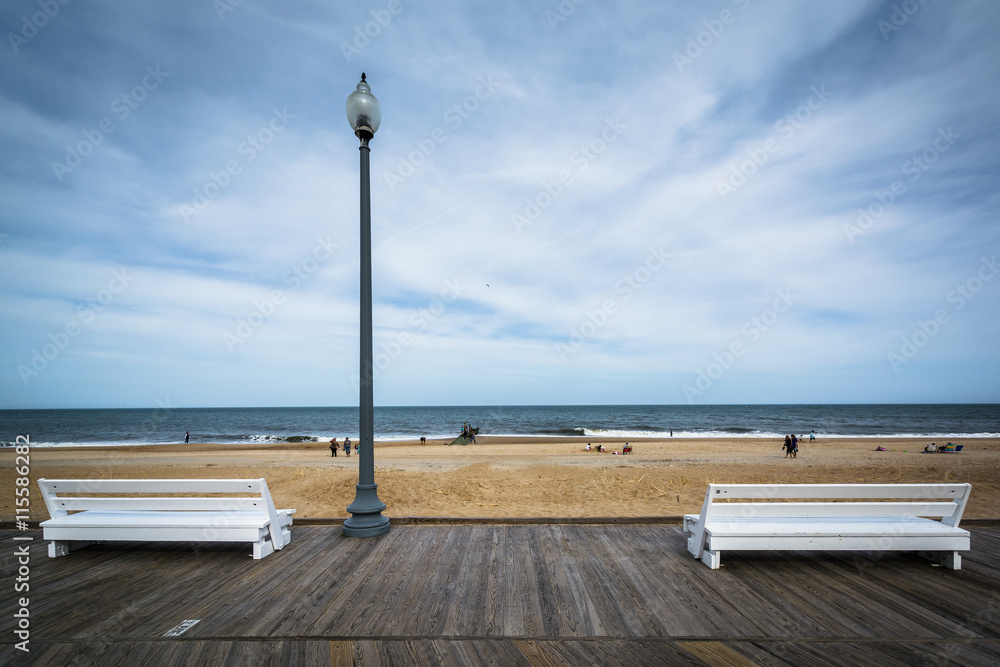 Fototapety, obrazy: Benches on the boardwalk in Rehoboth Beach, Delaware.