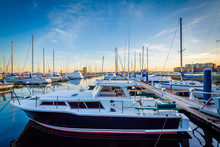 Boats Docked In A Marina In Canton, Baltimore, Maryland.
