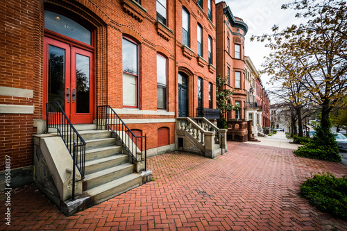 Brick sidewalk and row houses in Bolton Hill, Baltimore, Marylan Canvas Print