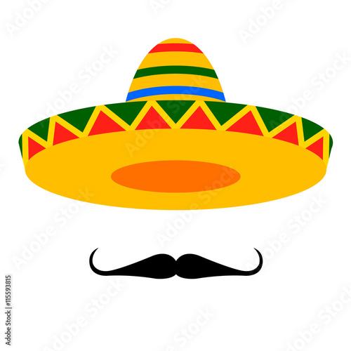 Fotografie, Obraz  sombrero moustache
