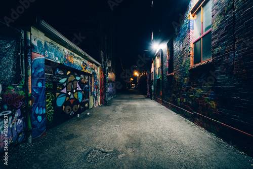 Graffiti Alley at night, in the Fashion District of Toronto, Ont