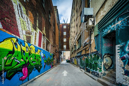 Graffiti in an alley in the Fashion District, of Toronto, Ontari Wallpaper Mural