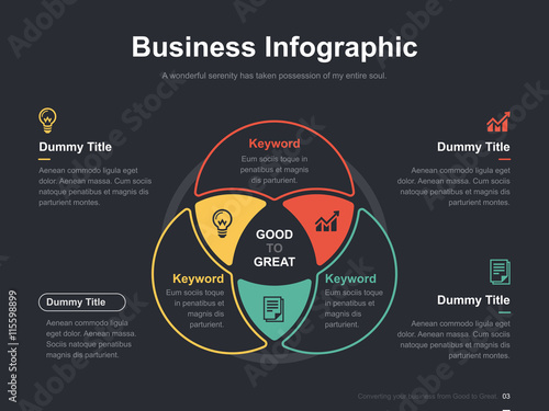Canvas Print Flat business presentation vector slide template with diagram