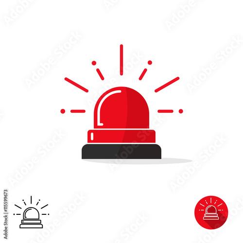 Obraz Emergency icon isolated on white background, ambulance siren light, police car flasher, red alert logo vector illustration - fototapety do salonu