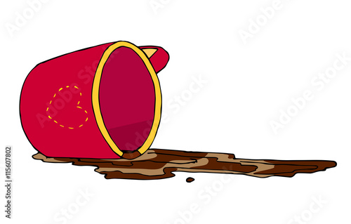 Fotografering  Hand drawn vector illustration of an inverted red cup and a spilled coffee