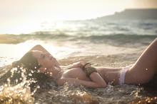 Sensual Woman In The Water