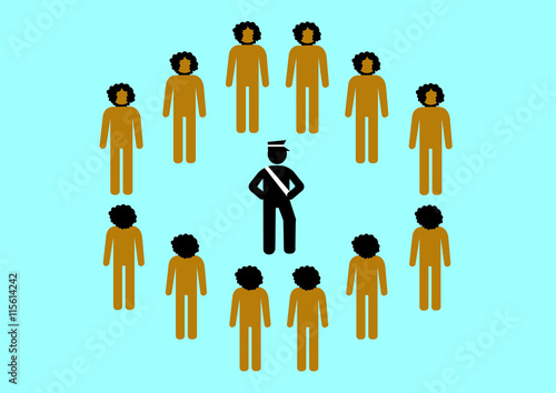 Fényképezés  Illustration Konflikt Rassismus; Polizei; Bedrohung; Farbige; umzingeln; machtmi