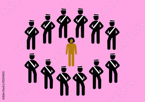 Fotografia, Obraz  Illustration Polizeigewalt; umzingeln, Farbiger; Beamtenstatus; Staatsgewalt; He