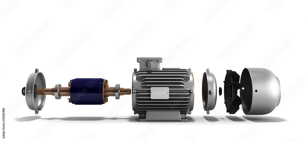 Fototapeta electric motor in disassembled state 3d render on a white backgr