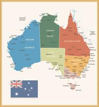 Vintage Color Political Map Of Australia