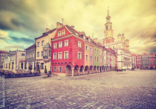 obraz lub plakat Vintage stylized Old Market Square and Town Hall in Poznan, Poland.