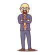 Vector cartoon business man hairless with beard