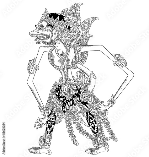 a character of traditional puppet show, wayang kulit from