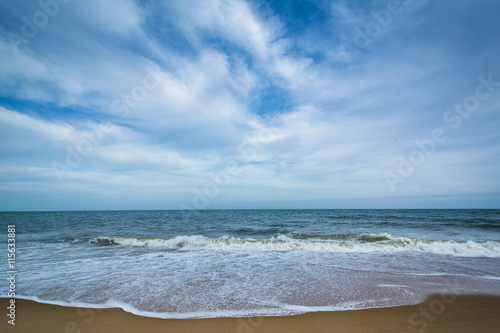 Tableau sur Toile Waves in the Atlantic Ocean at Cape Henlopen State Park, in Reho
