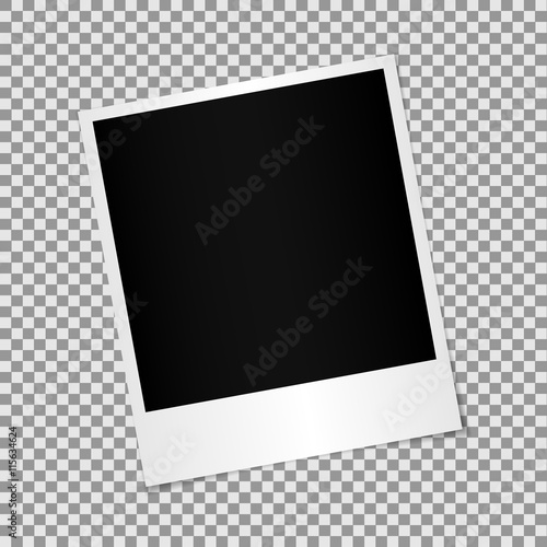 Fototapeta Blank photo polaroid frame with adhesive tape isolated on transp obraz na płótnie