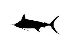 Atlantic Blue Marlin Silhouette. Vector Illustration.