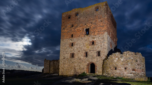 Poster Ruine Hammershus castle ruin by night