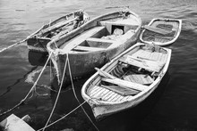 Old Wooden Fishing Boats, Black And White