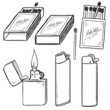 Vector Sketch Set Of Matches, ...