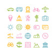 Set of outline travel icons. Vector thin icons for web, print, mobile apps