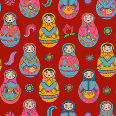 Vector seamless pattern with russian Matryoshka dolls and floral elements