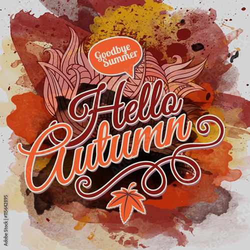 Papiers peints Visage de femme Vector watercolor paint autumn typographic design