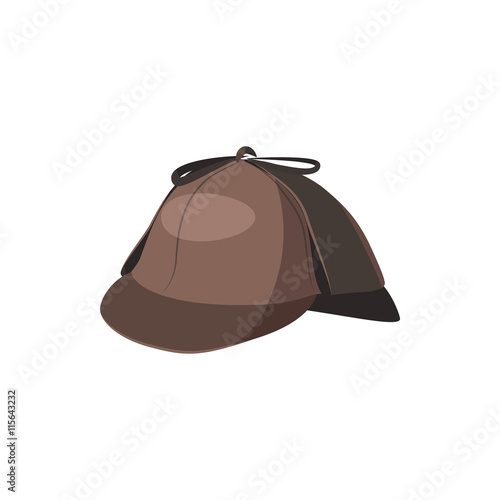Valokuva  Detective Sherlock Holmes hat icon in cartoon style on a white background