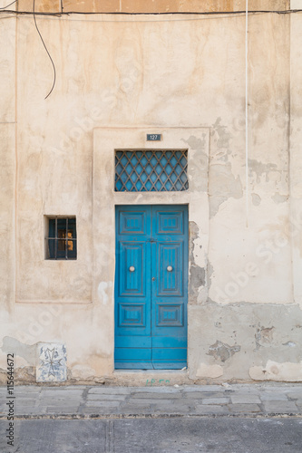 Photo  Traditional Maltese door painted blue