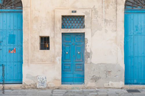 Photo  Traditional Maltese doors painted blue