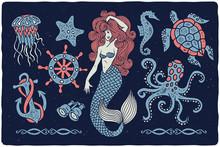 Marine Illustrations Set. Merm...