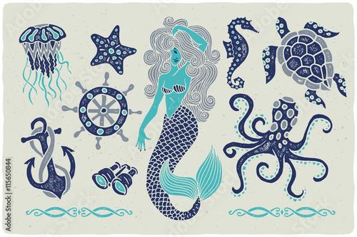 Canvas Print Marine illustrations set