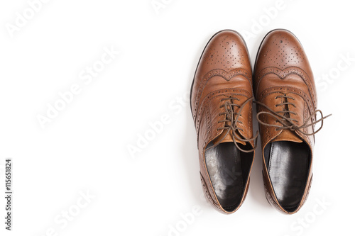 Fototapeta Men's classic brown leather shoes isolated on white background. obraz na płótnie