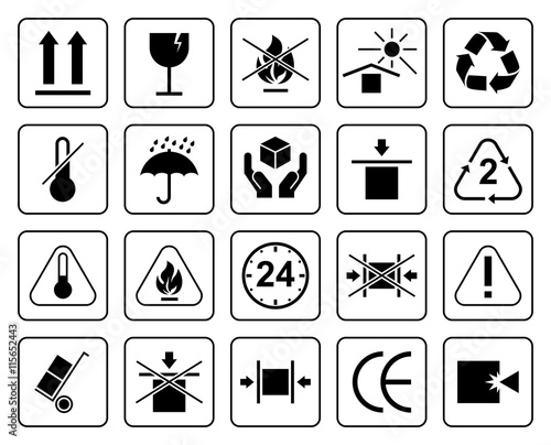 Fotografía  Set Of Packaging Symbols including fragile, to protect from the