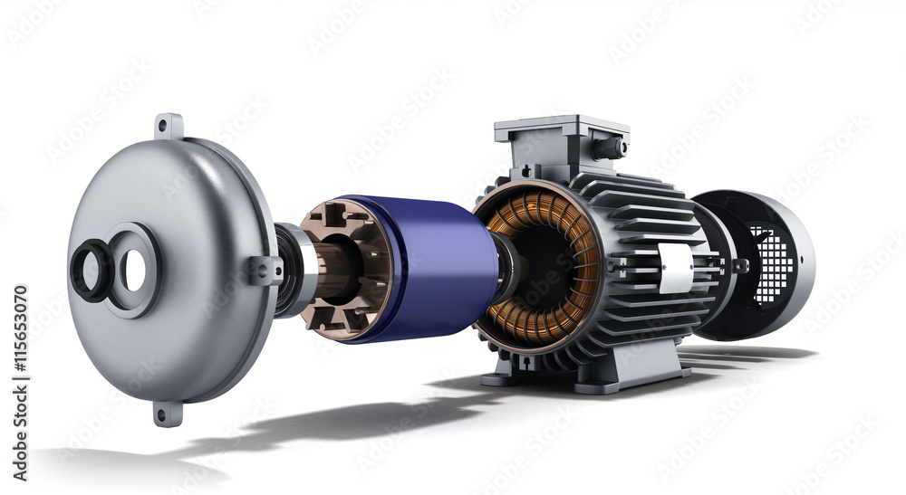 Fototapeta electric motor in disassembled state 3d illustration on a white