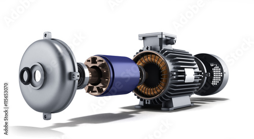 Photo electric motor in disassembled state 3d illustration on a white