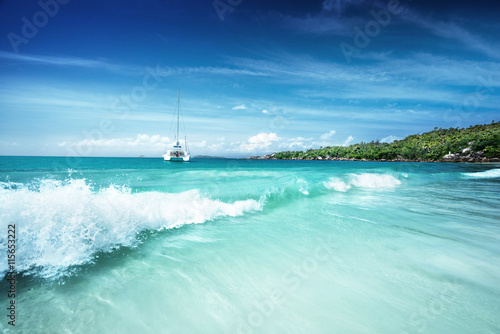 Poster Tropical plage beach at Seychelles, Praslin, Anse Lazio