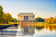 canvas print picture - Lincoln memorial and pool in Washington DC, USA