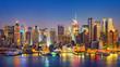 View on Manhattan at night, New York, USA