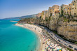 High view of Tropea town and beach - Calabria, Italy
