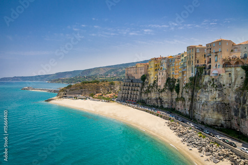 Fotografie, Obraz High view of Tropea town and beach - Calabria, Italy