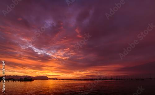 Fototapeta Sunset in La Punta Town, in Callao, Peru. obraz na płótnie