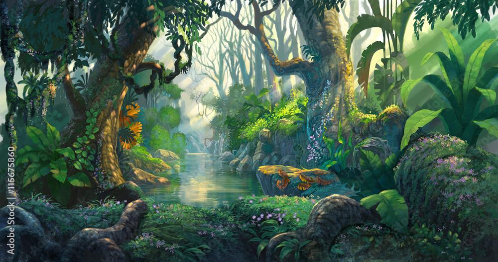 Fototapeta fantasy forest background illustration painting