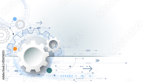 Vector Futuristic Technology Background 3d White Paper