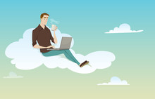 Young Man Sitting On The Cloud Using His Computer On Sunny Weather In Coffee Break.