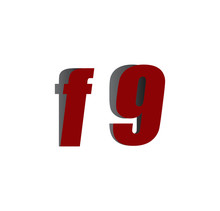 F9 Logo Initial Red And Shadow