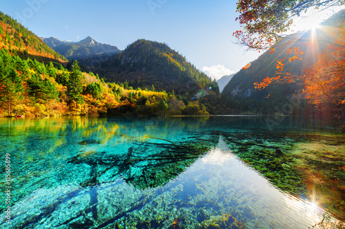 Photo  Scenic view of the Five Flower Lake among woods and mountains