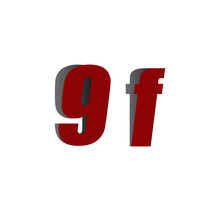 9f Logo Initial Red And Shadow