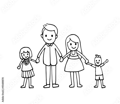 Vector Of Hand Draw Happy Family Holding Hands And Smiling
